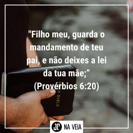 Imagem com o versículo sobre obediência de Provérbios 6:20