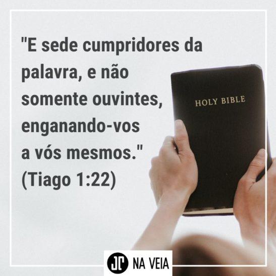 Imagem com o versículo sobre obediência de Tiago 1:22