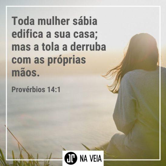 Imagem para compartilhar com versículos para mulheres de Provérbios 14:1