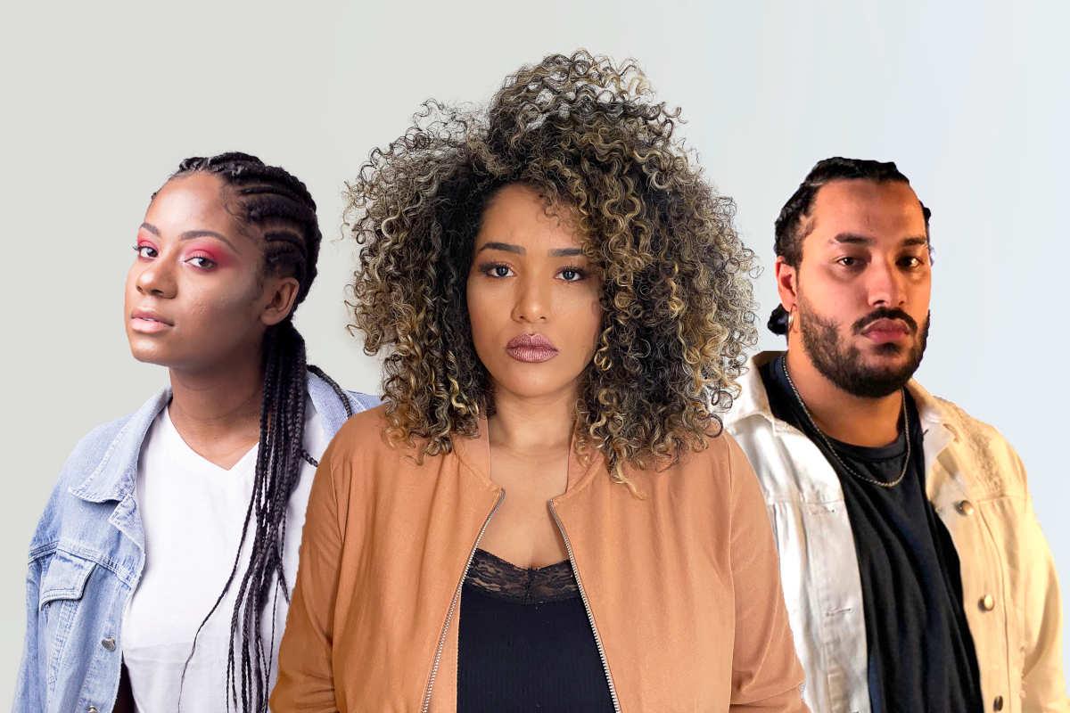 Leidy Murilho, Talita Barreto e Asaph posando para a capa da música Força para encarar