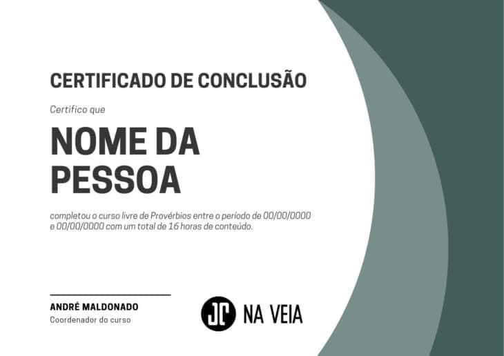 Certificado de conclusão - Curso livre de Provérbios
